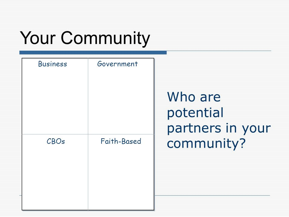 Your Community Who are potential partners in your community? Business CBOs Government Faith-Based