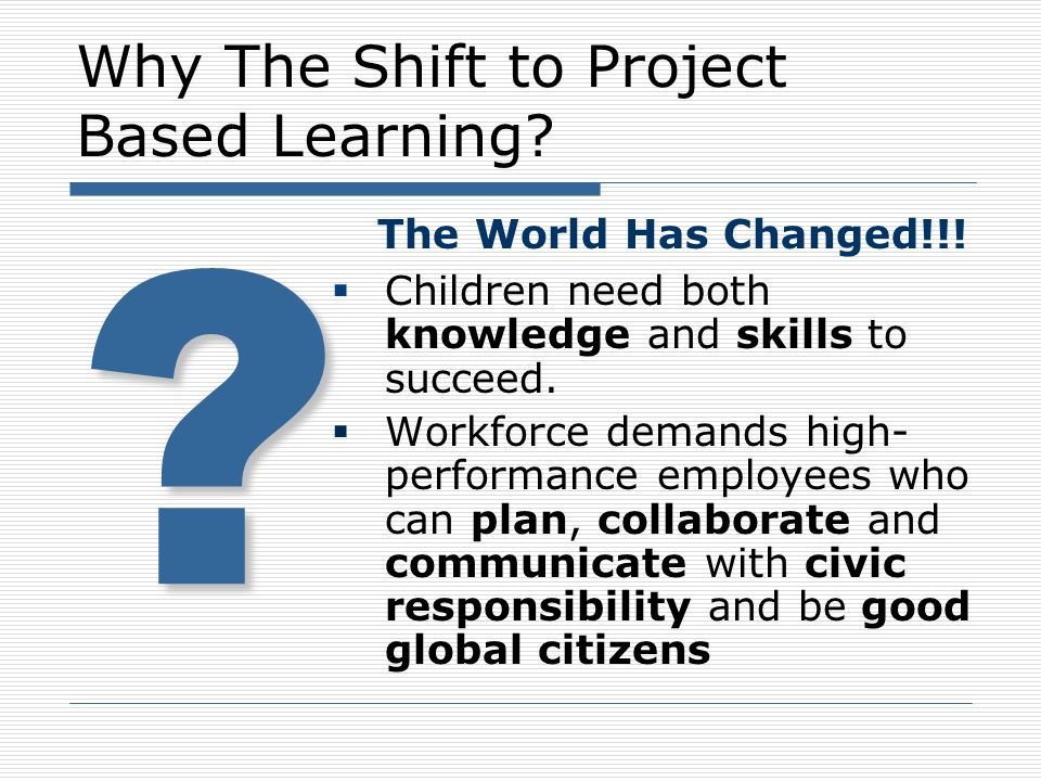 Why The Shift to Project Based Learning? The World Has Changed!!! Children need both knowledge and skills to succeed. Workforce demands high- performa