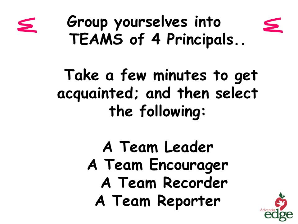 Group yourselves into TEAMS of 4 Principals.. Take a few minutes to get acquainted; and then select the following: A Team Leader A Team Encourager A T