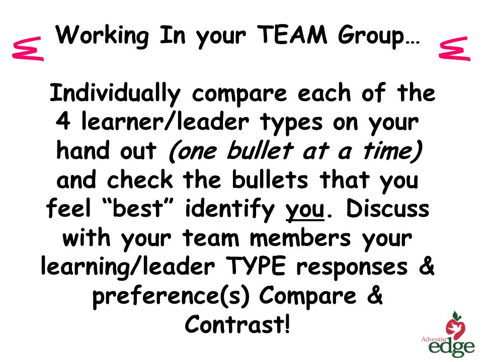 Working In your TEAM Group… Individually compare each of the 4 learner/leader types on your hand out (one bullet at a time) and check the bullets that