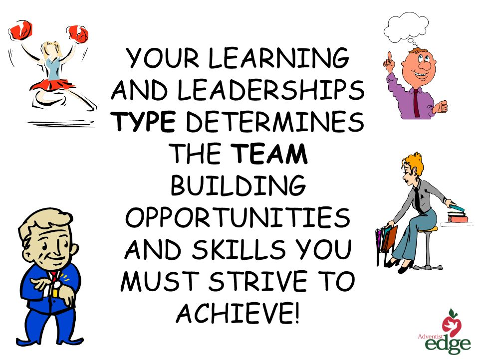 YOUR LEARNING AND LEADERSHIPS TYPE DETERMINES THE TEAM BUILDING OPPORTUNITIES AND SKILLS YOU MUST STRIVE TO ACHIEVE!