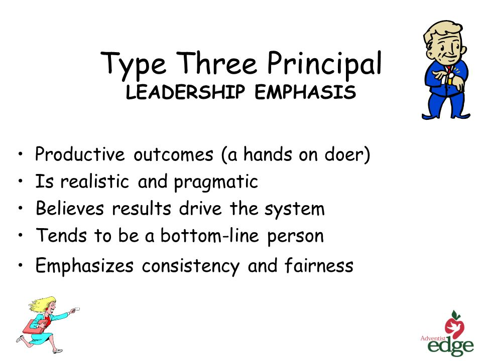 Type Three Principal LEADERSHIP EMPHASIS Productive outcomes (a hands on doer) Is realistic and pragmatic Believes results drive the system Tends to be a bottom-line person Emphasizes consistency and fairness