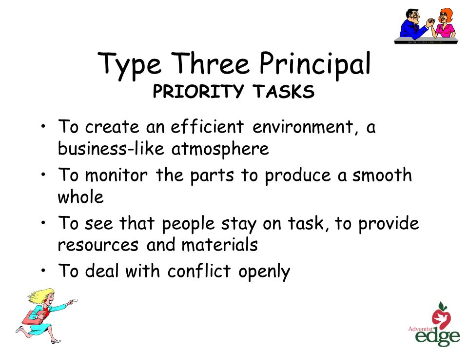 Type Three Principal PRIORITY TASKS To create an efficient environment, a business-like atmosphere To monitor the parts to produce a smooth whole To see that people stay on task, to provide resources and materials To deal with conflict openly