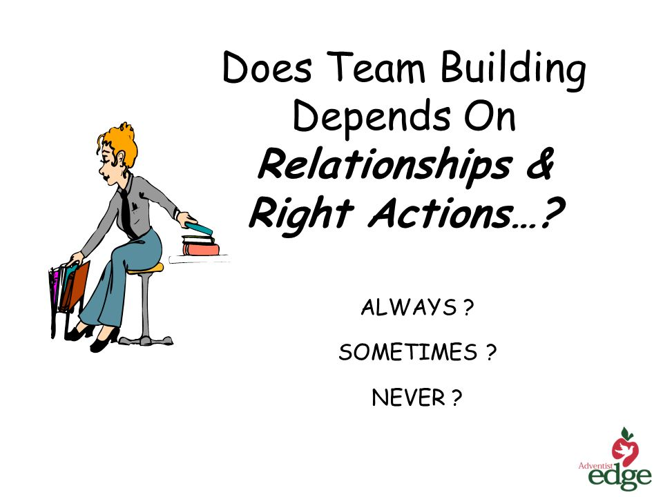 Does Team Building Depends On Relationships & Right Actions… ALWAYS SOMETIMES NEVER