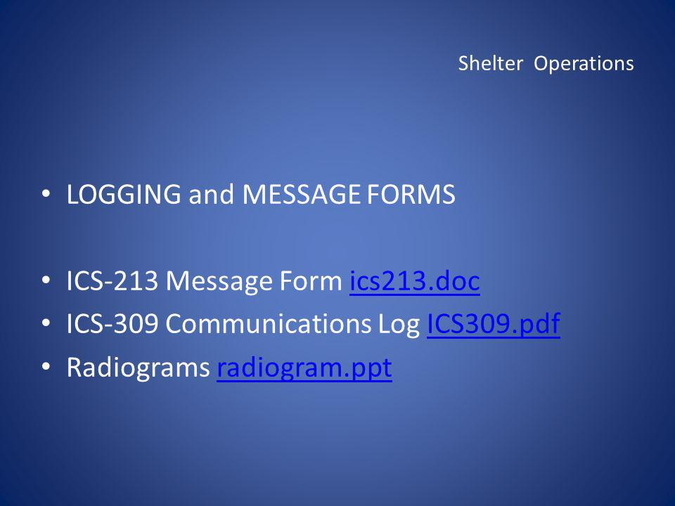 Shelter Operations LOGGING and MESSAGE FORMS ICS-213 Message Form ics213.docics213.doc ICS-309 Communications Log ICS309.pdfICS309.pdf Radiograms radi