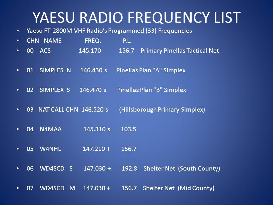 YAESU RADIO FREQUENCY LIST Yaesu FT-2800M VHF Radios Programmed (33) Frequencies CHN NAME FREQ. P.L. 00 ACS 145.170 - 156.7 Primary Pinellas Tactical
