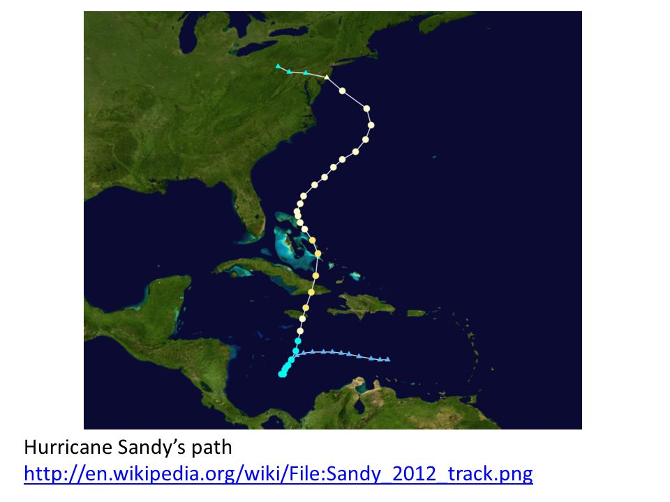 Hurricane Sandys path