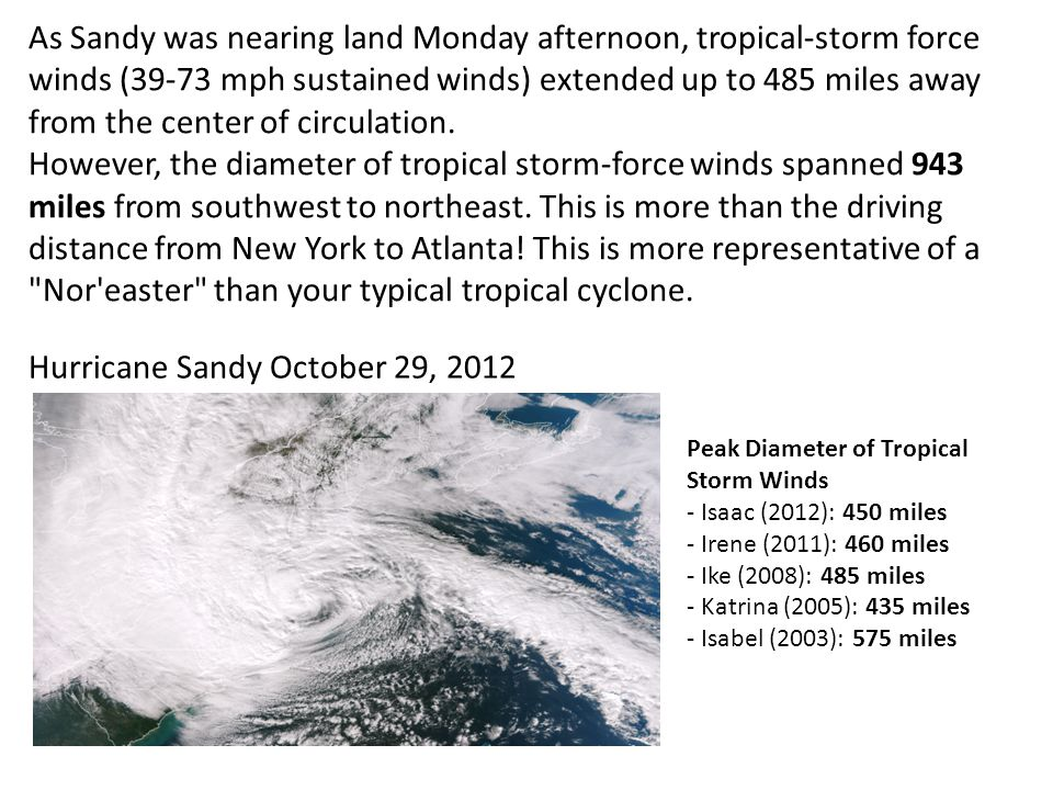 As Sandy was nearing land Monday afternoon, tropical-storm force winds (39-73 mph sustained winds) extended up to 485 miles away from the center of circulation.