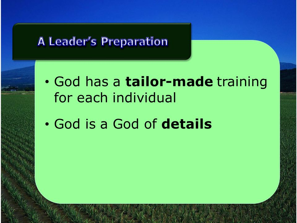 God has a tailor-made training for each individual God is a God of details