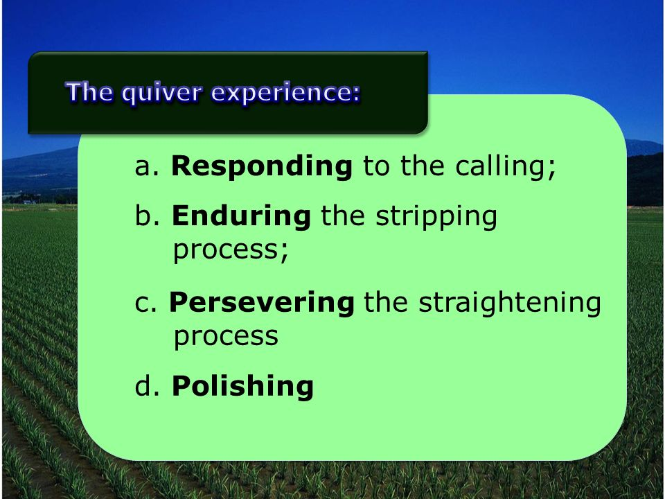 a. Responding to the calling; b. Enduring the stripping process; c. Persevering the straightening process d. Polishing
