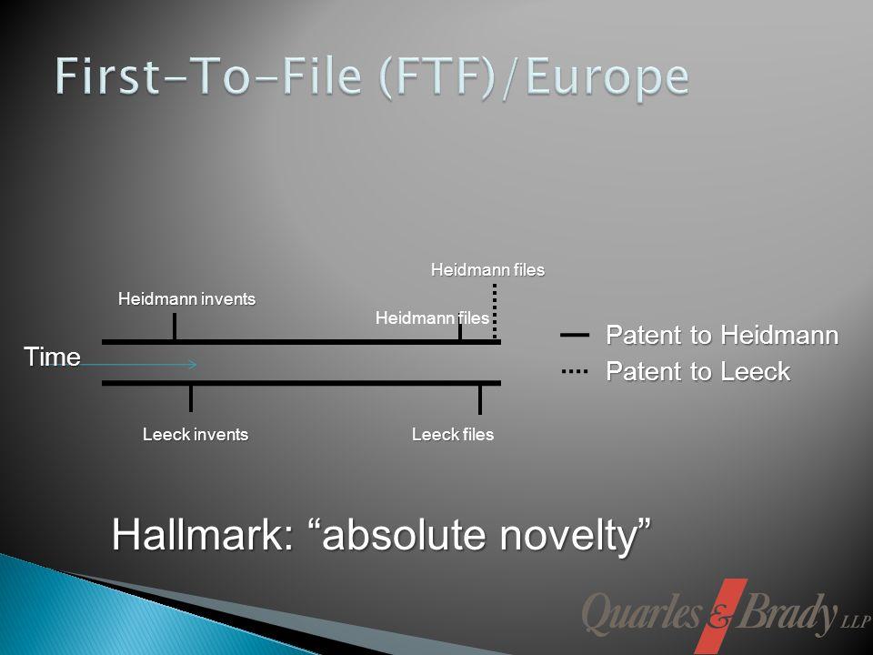Heidmann files Leeck invents Leeck Leeck files Patent to Leeck Patent to Heidmann Time Heidmann invents Heidmann files Hallmark: absolute novelty