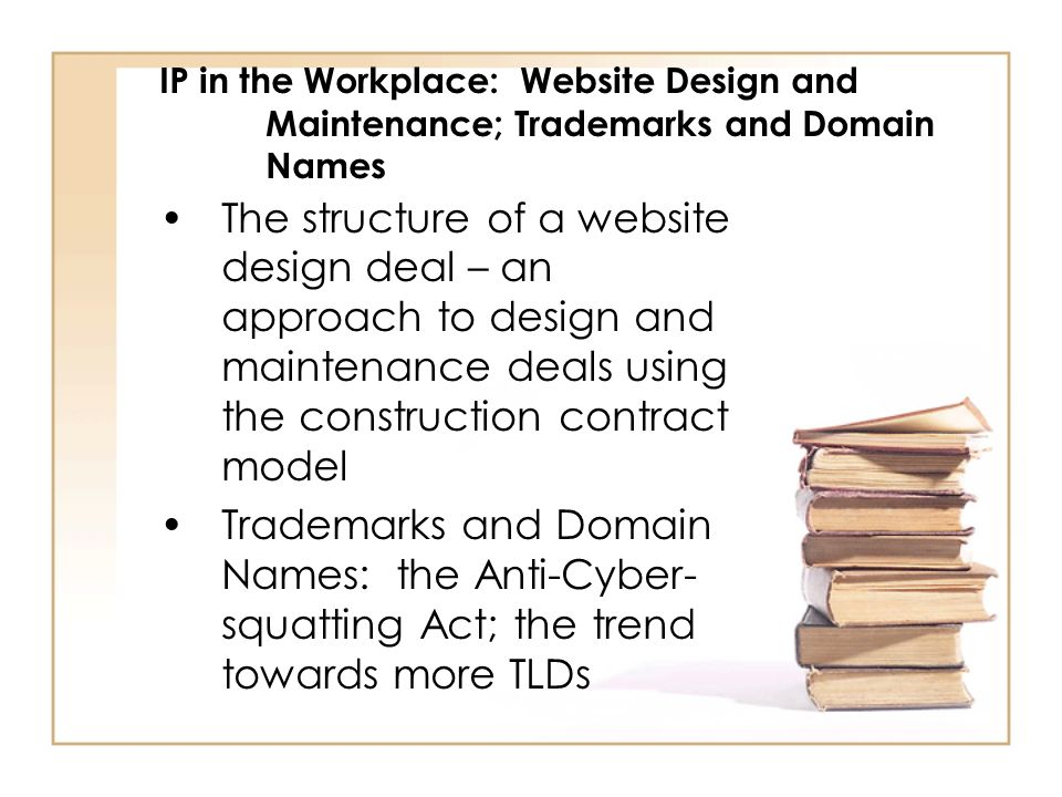 IP in the Workplace: Website Design and Maintenance; Trademarks and Domain Names The structure of a website design deal – an approach to design and maintenance deals using the construction contract model Trademarks and Domain Names: the Anti-Cyber- squatting Act; the trend towards more TLDs