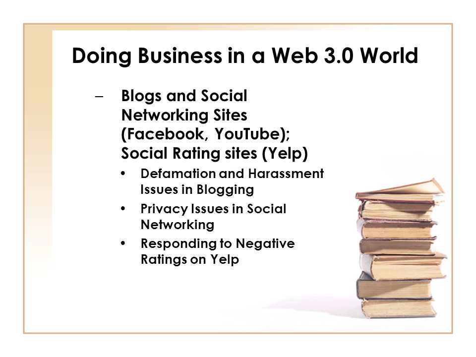 Doing Business in a Web 3.0 World – Blogs and Social Networking Sites (Facebook, YouTube); Social Rating sites (Yelp) Defamation and Harassment Issues in Blogging Privacy Issues in Social Networking Responding to Negative Ratings on Yelp