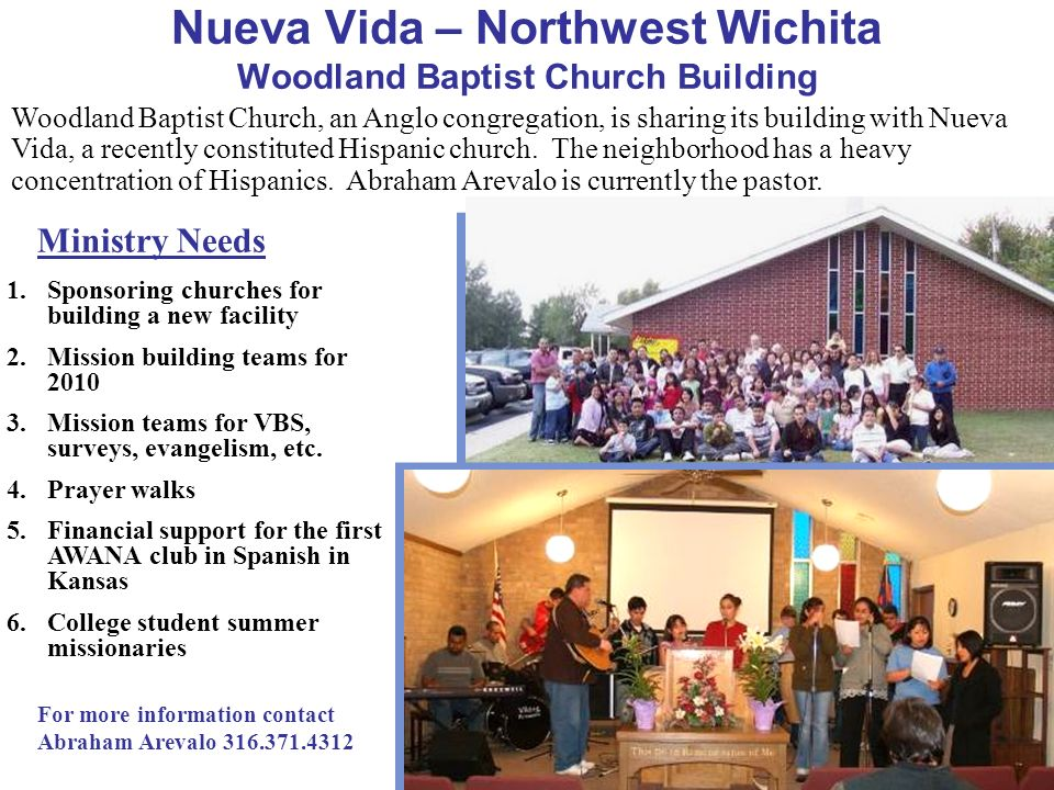 Woodland Baptist Church, an Anglo congregation, is sharing its building with Nueva Vida, a recently constituted Hispanic church. The neighborhood has