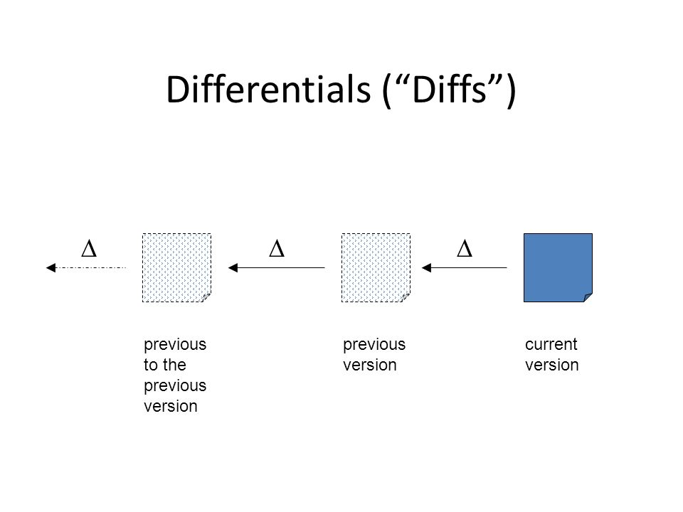 Differentials (Diffs) current version previous version previous to the previous version