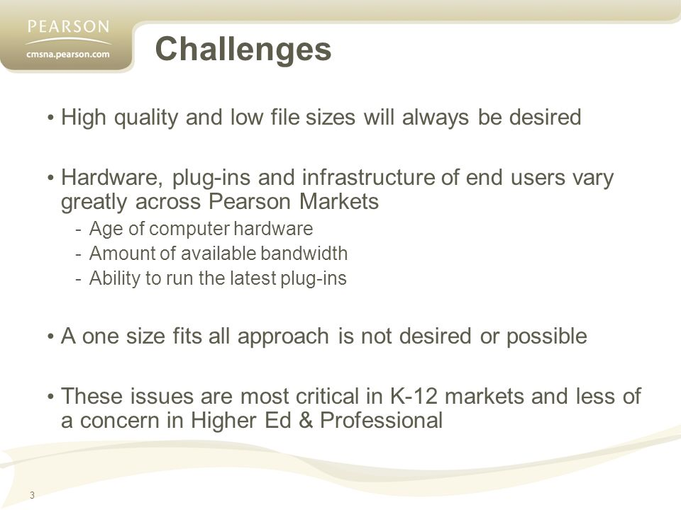 3 Challenges High quality and low file sizes will always be desired Hardware, plug-ins and infrastructure of end users vary greatly across Pearson Markets -Age of computer hardware -Amount of available bandwidth -Ability to run the latest plug-ins A one size fits all approach is not desired or possible These issues are most critical in K-12 markets and less of a concern in Higher Ed & Professional