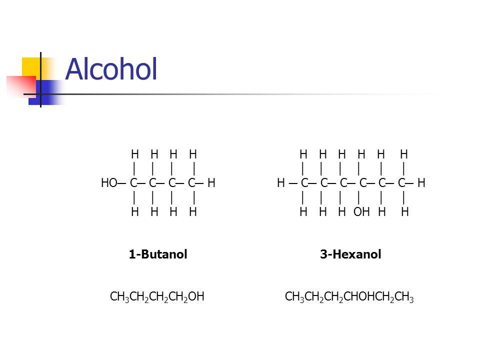 Alcohol H H H H HO C C C C H H H H H 1-Butanol 3-Hexanol H H H H H H H C C C C C C H H H H OH H H CH 3 CH 2 CH 2 CH 2 OHCH 3 CH 2 CH 2 CHOHCH 2 CH 3