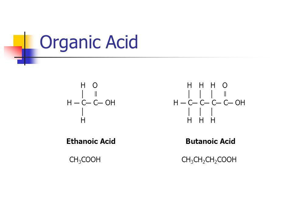 Organic Acid H O ǁ H C C OH H Ethanoic Acid CH 3 COOH H H H O ǁ H C C C C OH H H H Butanoic Acid CH 3 CH 2 CH 2 COOH