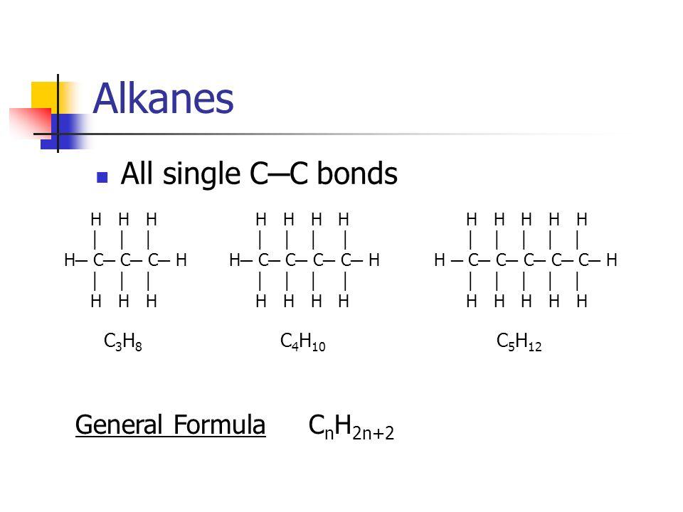 Alkanes All single C C bonds H H H H H H C C C C C H H H H H H H H H H H C C C C H H H H H H H H H C C C H H H H C 5 H 12 C 4 H 10 C3H8C3H8 General Fo