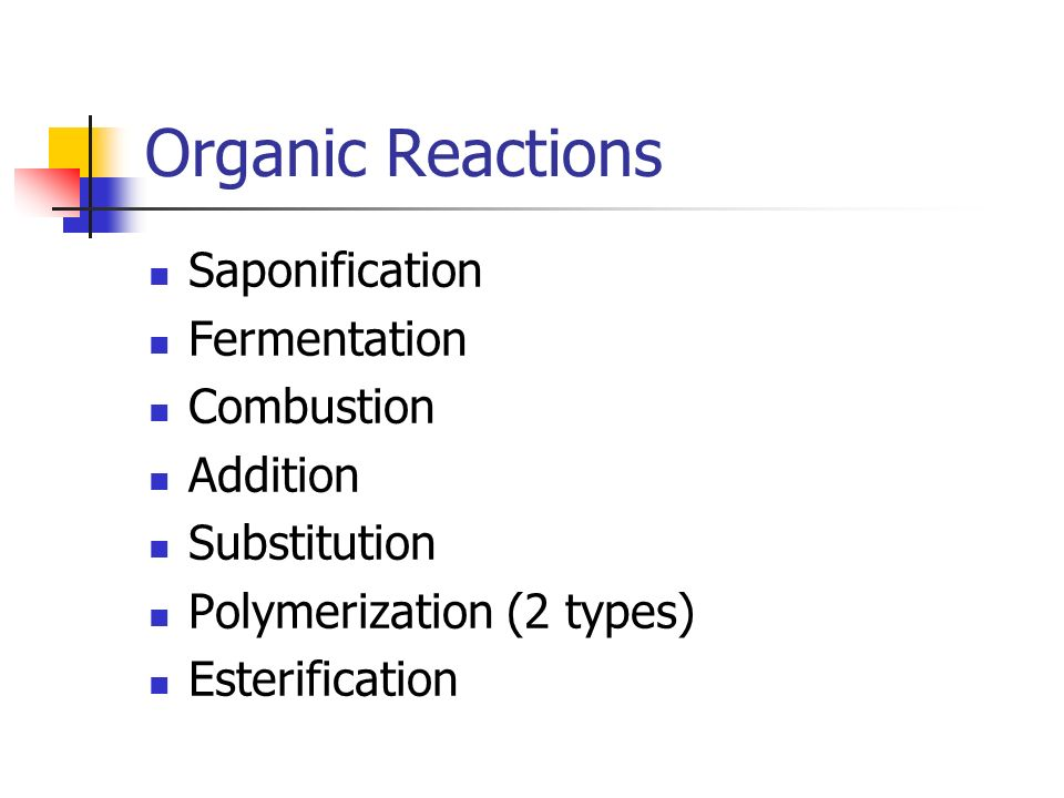 Organic Reactions Saponification Fermentation Combustion Addition Substitution Polymerization (2 types) Esterification