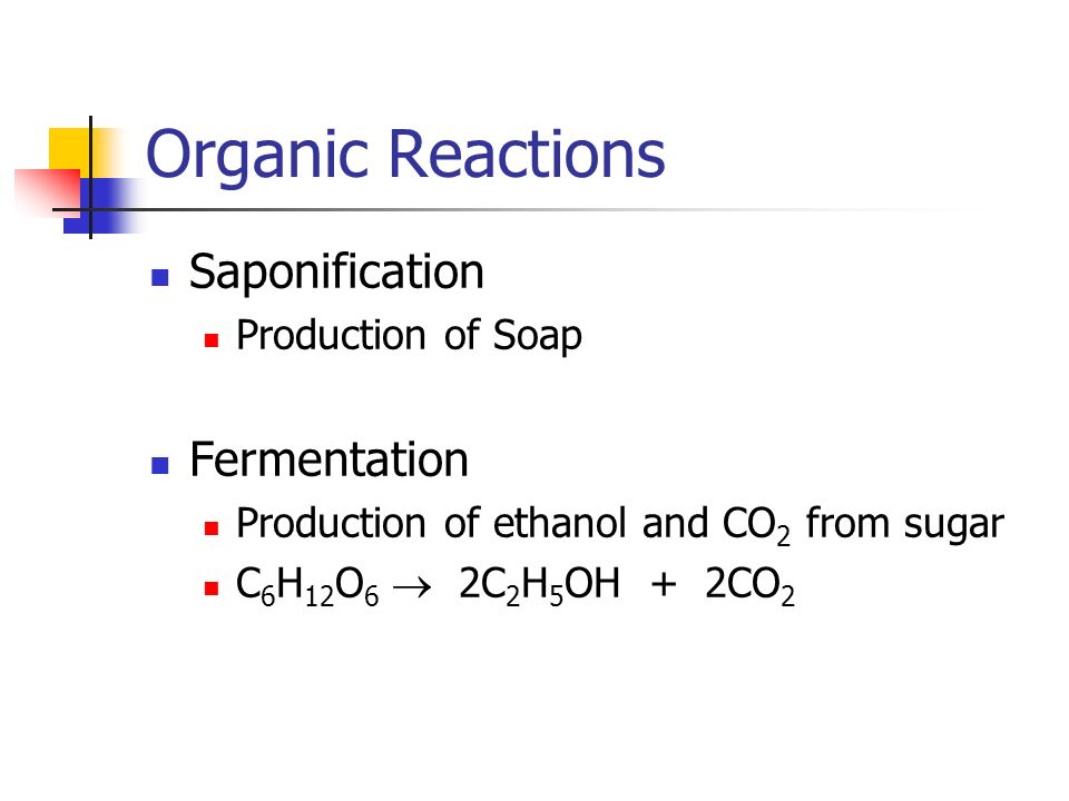 Organic Reactions Saponification Production of Soap Fermentation Production of ethanol and CO 2 from sugar C 6 H 12 O 6 2C 2 H 5 OH + 2CO 2