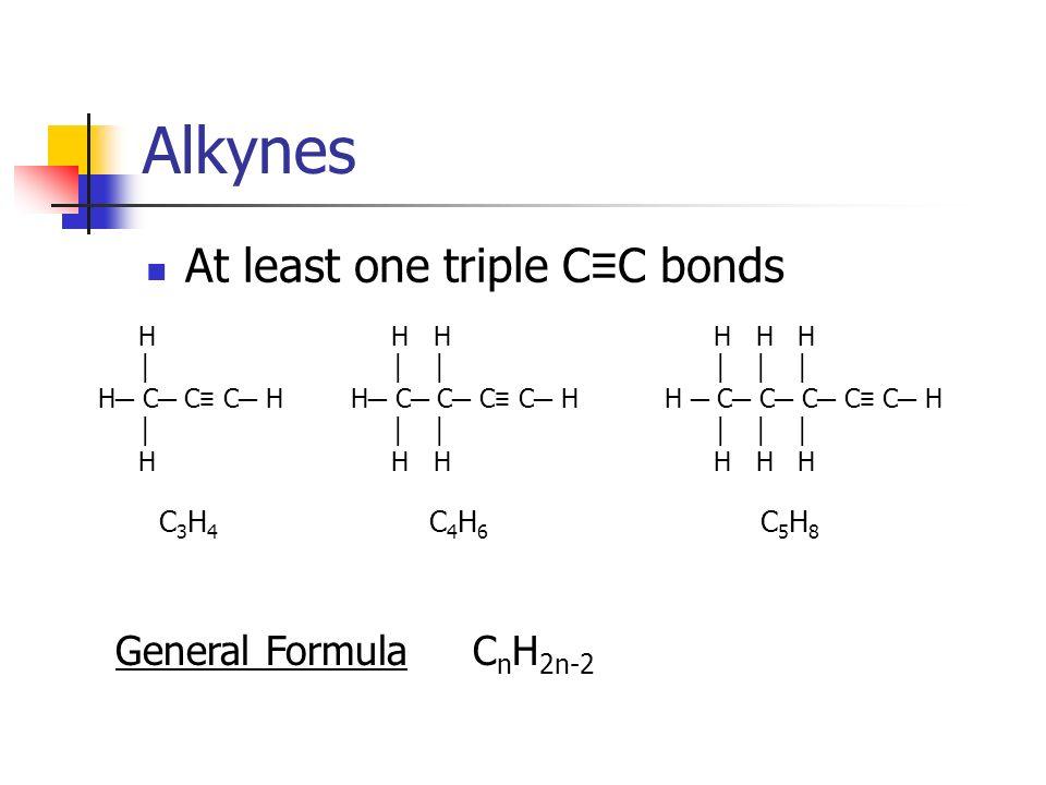 Alkynes At least one triple C C bonds H H H H C C C C C H H H H H H H C C C C H H H H H C C C H H C5H8C5H8 C4H6C4H6 C3H4C3H4 General FormulaC n H 2n-2