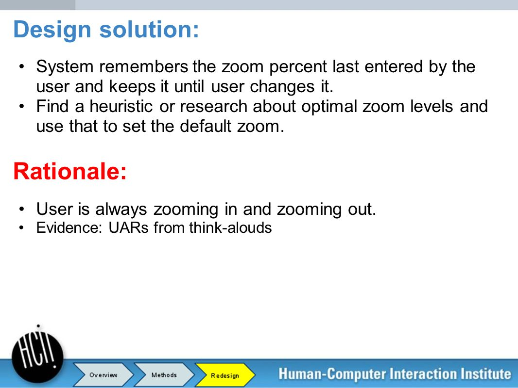 System remembers the zoom percent last entered by the user and keeps it until user changes it. Find a heuristic or research about optimal zoom levels
