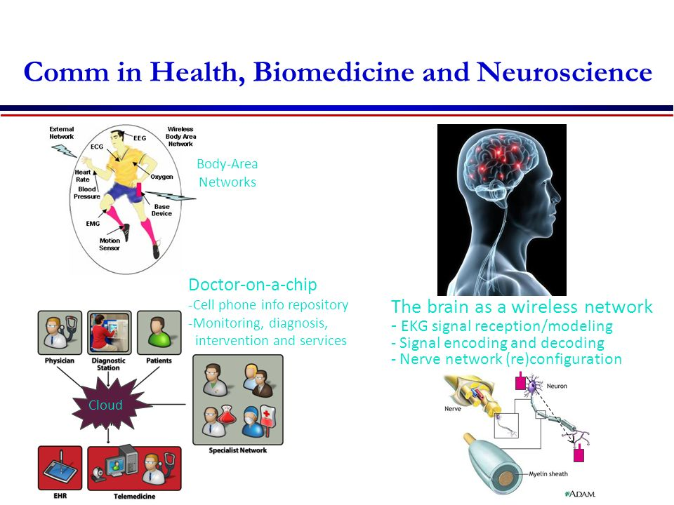 Comm in Health, Biomedicine and Neuroscience Doctor-on-a-chip -Cell phone info repository -Monitoring, diagnosis, intervention and services Cloud The