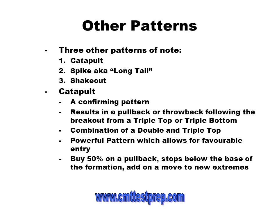 Other Patterns -Three other patterns of note: 1.Catapult 2.Spike aka Long Tail 3.Shakeout -Catapult -A confirming pattern -Results in a pullback or th