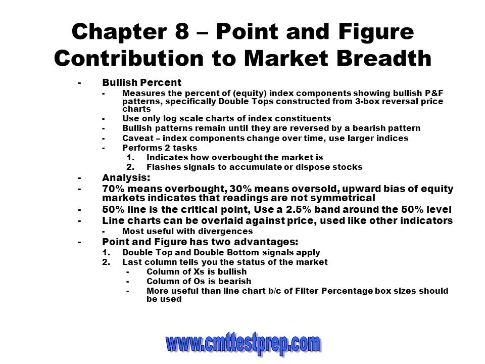 Chapter 8 – Point and Figure Contribution to Market Breadth -Bullish Percent -Measures the percent of (equity) index components showing bullish P&F pa