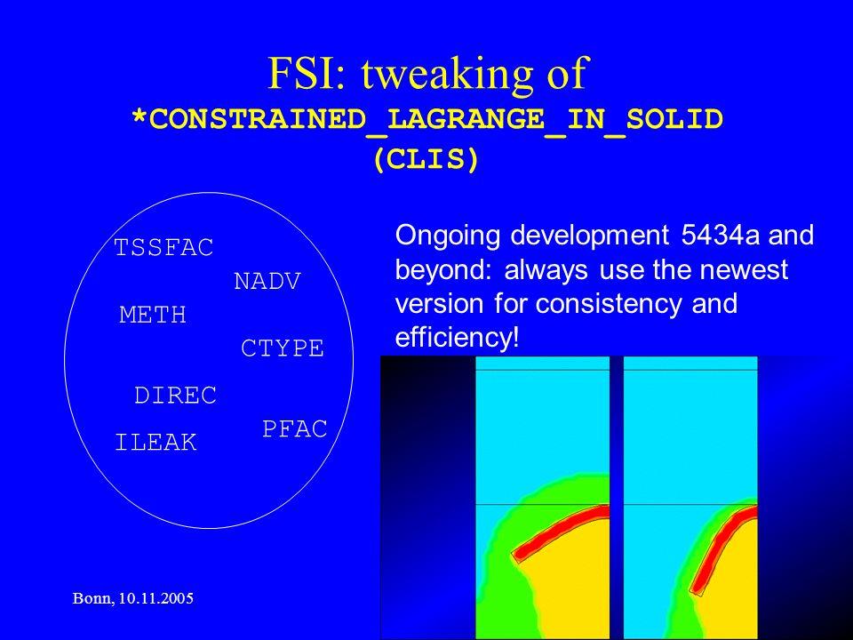 Bonn, 10.11.2005 www.rudolf-boetticher.de FSI: tweaking of *CONSTRAINED_LAGRANGE_IN_SOLID (CLIS) TSSFAC NADV METH CTYPE DIREC PFAC ILEAK Ongoing devel
