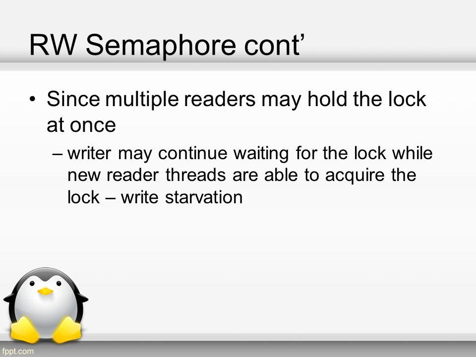 RW Semaphore API RW Semaphore struct: struct rw_semaphore { long count; raw_spinlock_t wait_lock; struct list_head wait_list; }
