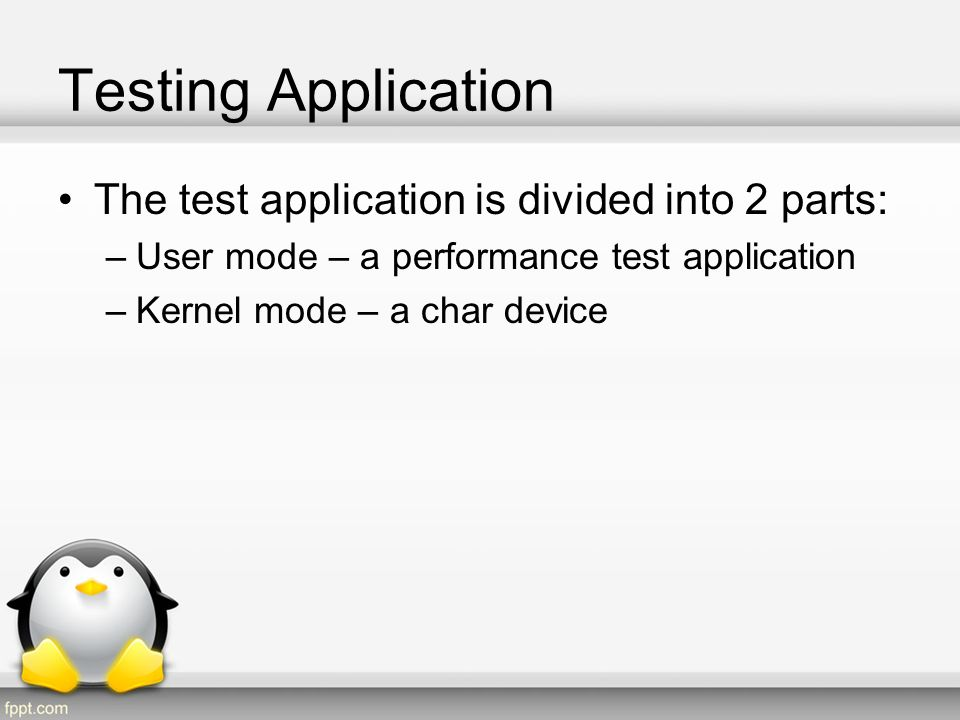 Testing Application - kernel Create a char device driver –Via ioctl control then following: creation of spinlock: –ticket lock –Array lock –MCS lock acquire spinlock (the which was created) Release spinlock (the which was created)