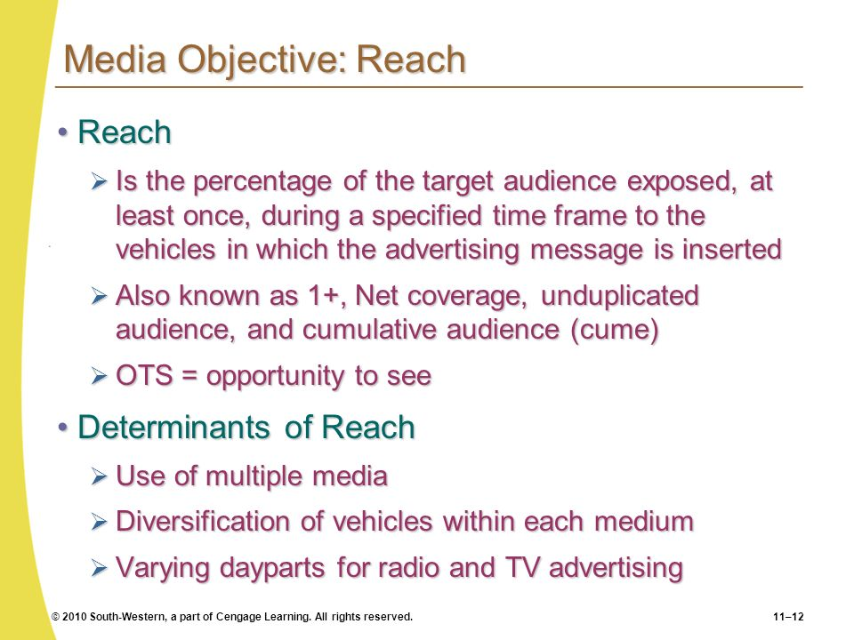 © 2010 South-Western, a part of Cengage Learning. All rights reserved.11–12 Media Objective: Reach ReachReach Is the percentage of the target audience