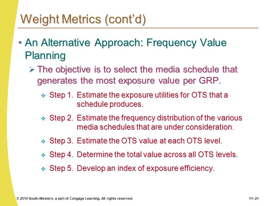 © 2010 South-Western, a part of Cengage Learning. All rights reserved.11–21 Weight Metrics (contd) An Alternative Approach: Frequency Value PlanningAn