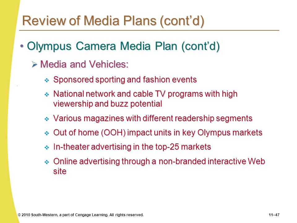 © 2010 South-Western, a part of Cengage Learning. All rights reserved.11–47 Review of Media Plans (contd) Olympus Camera Media Plan (contd)Olympus Cam