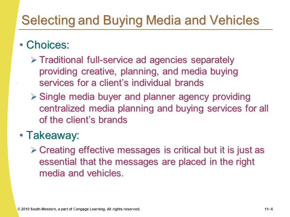 © 2010 South-Western, a part of Cengage Learning. All rights reserved.11–6 Selecting and Buying Media and Vehicles Choices:Choices: Traditional full-s