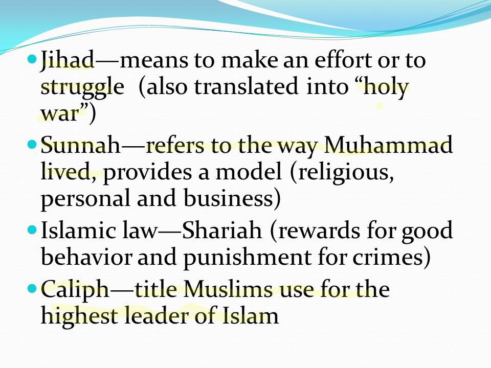 Quran is the holy book of Islamguidelines for moral behavior --dont eat pork --free slaves --a few rights for women 10