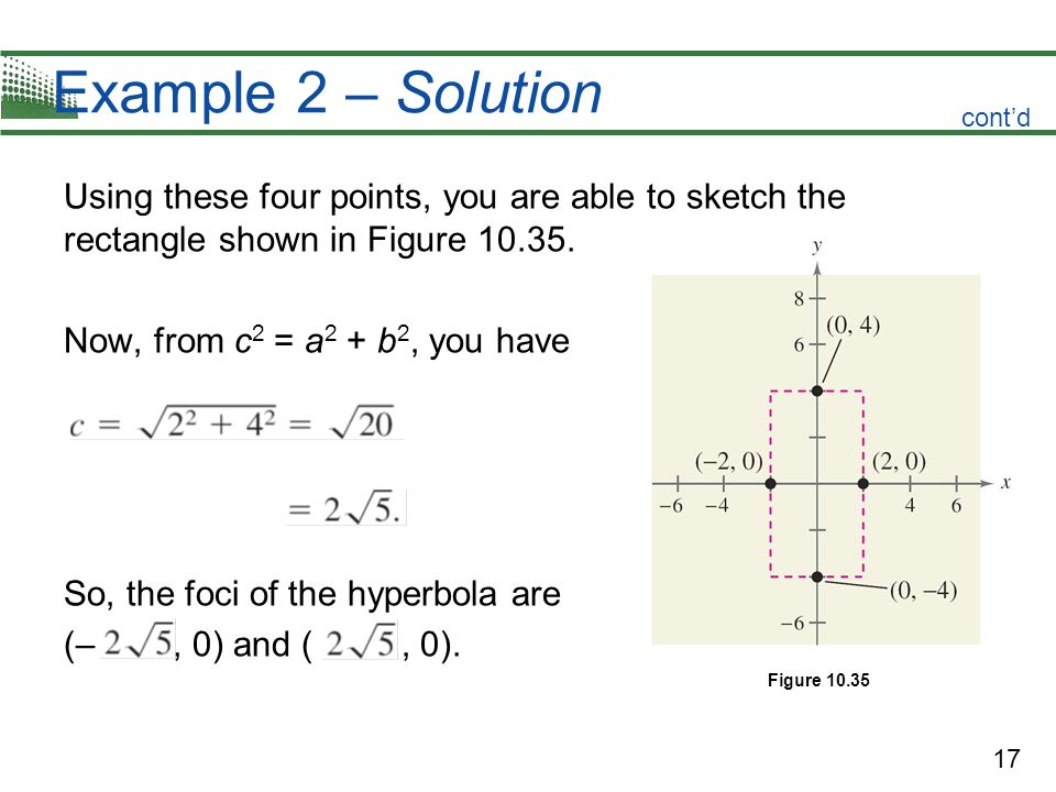 17 Example 2 – Solution Using these four points, you are able to sketch the rectangle shown in Figure 10.35. Now, from c 2 = a 2 + b 2, you have So, t