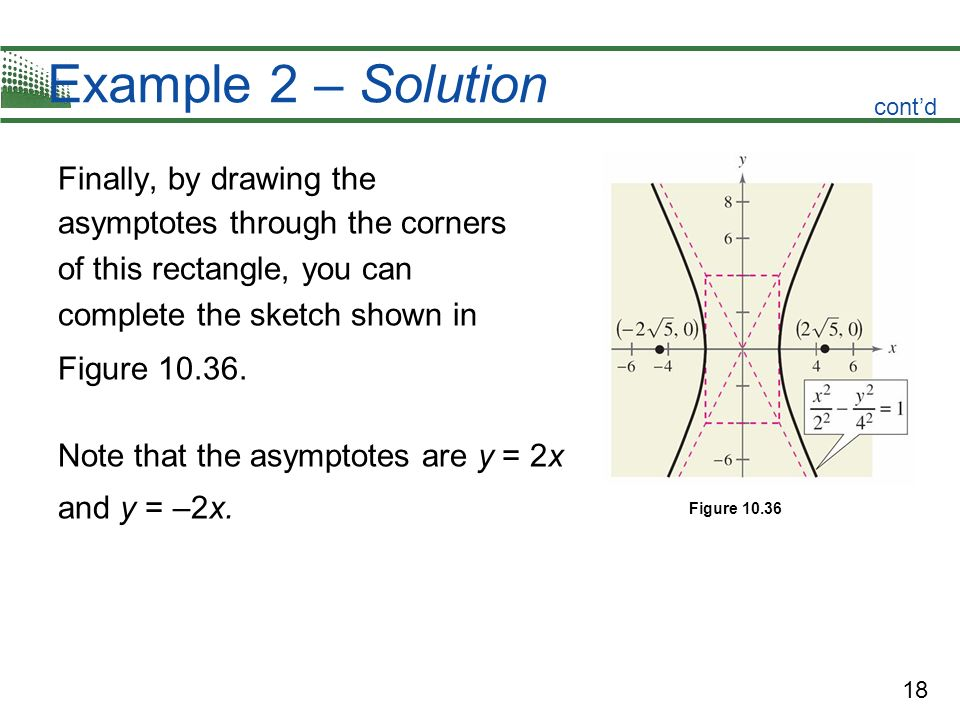18 Example 2 – Solution Finally, by drawing the asymptotes through the corners of this rectangle, you can complete the sketch shown in Figure 10.36. N