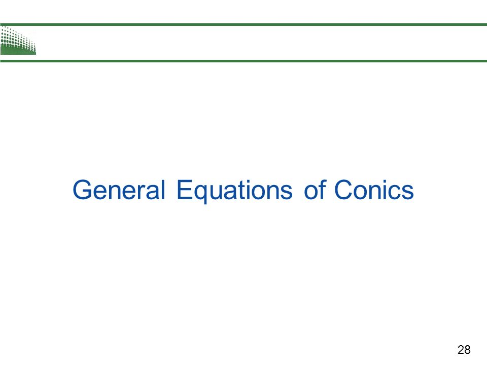 28 General Equations of Conics