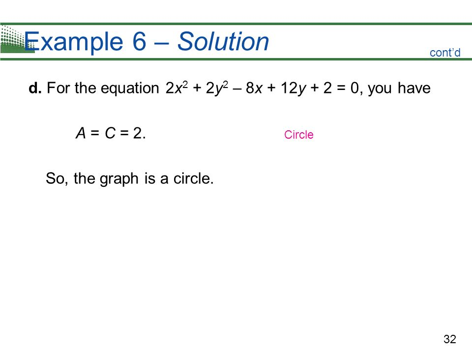 32 Example 6 – Solution d. For the equation 2x 2 + 2y 2 – 8x + 12y + 2 = 0, you have A = C = 2. So, the graph is a circle. Circle contd