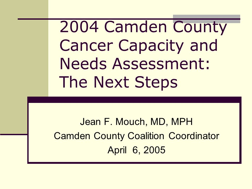 2004 Camden County Cancer Capacity and Needs Assessment: The Next Steps Jean F.