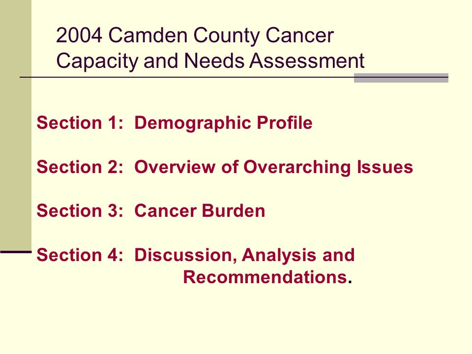 2004 Camden County Cancer Capacity and Needs Assessment Section 1: Demographic Profile Section 2: Overview of Overarching Issues Section 3: Cancer Burden Section 4: Discussion, Analysis and Recommendations.