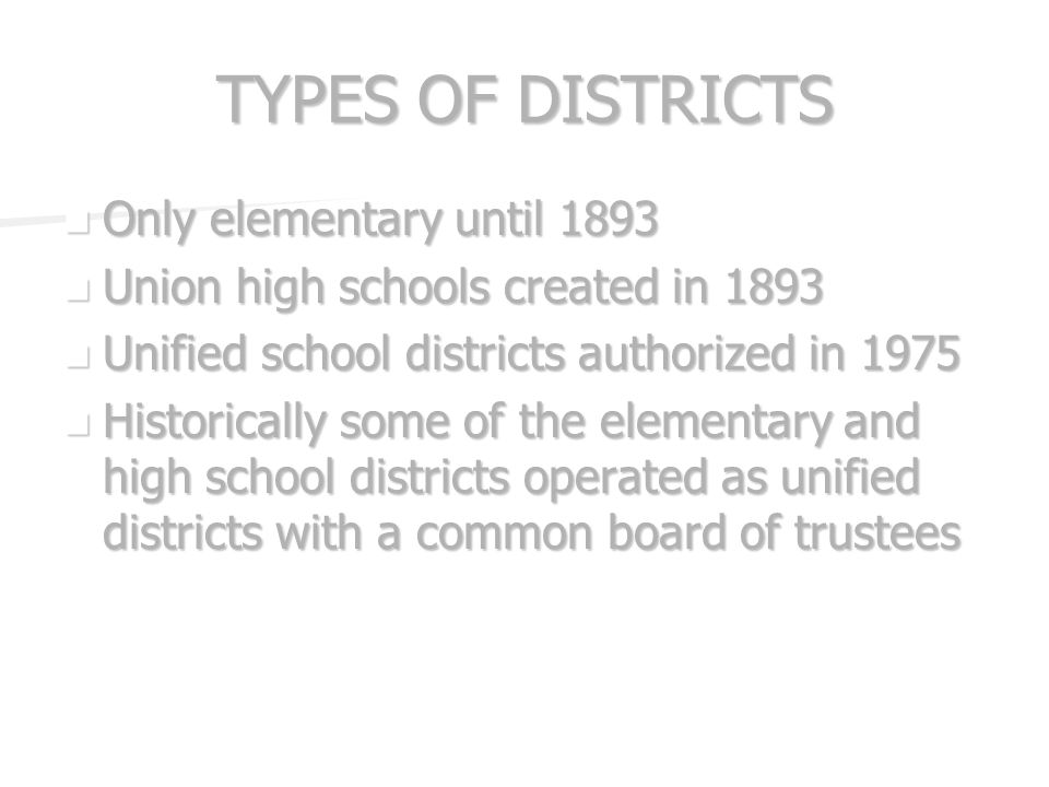 NUMBER OF SCHOOL DISTRICTS 1906-07: just under 300 1906-07: just under 300 1917-18: five years after statehood - 562 1917-18: five years after statehood - 562 2007: 230 2007: 230 Examples of other states: Examples of other states: –California - 999 –New Mexico - 89 –Oklahoma - 649
