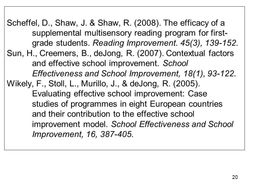 19 Leithwood, K., Jantzi, D., & Fernandez, A. (1994). Transformational leadership and teachers commitment to change. In Murphy, J. & Louis, K. (Eds.),