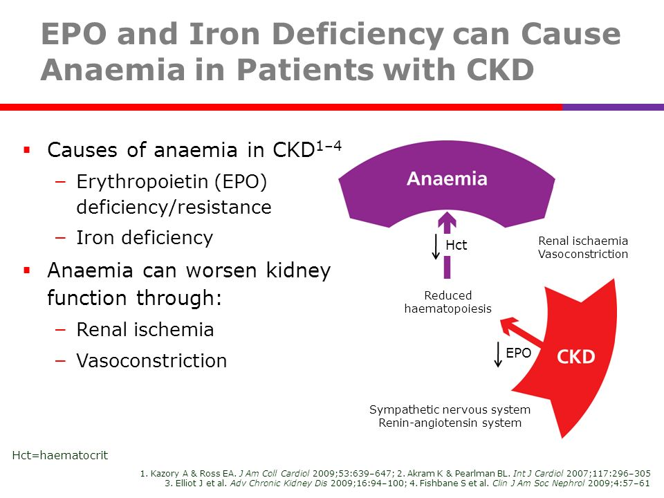 EPO and Iron Deficiency can Cause Anaemia in Patients with CKD Causes of anaemia in CKD 1–4 – Erythropoietin (EPO) deficiency/resistance – Iron defici