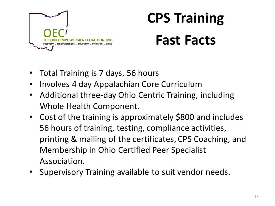CPS Training Fast Facts Total Training is 7 days, 56 hours Involves 4 day Appalachian Core Curriculum Additional three-day Ohio Centric Training, incl