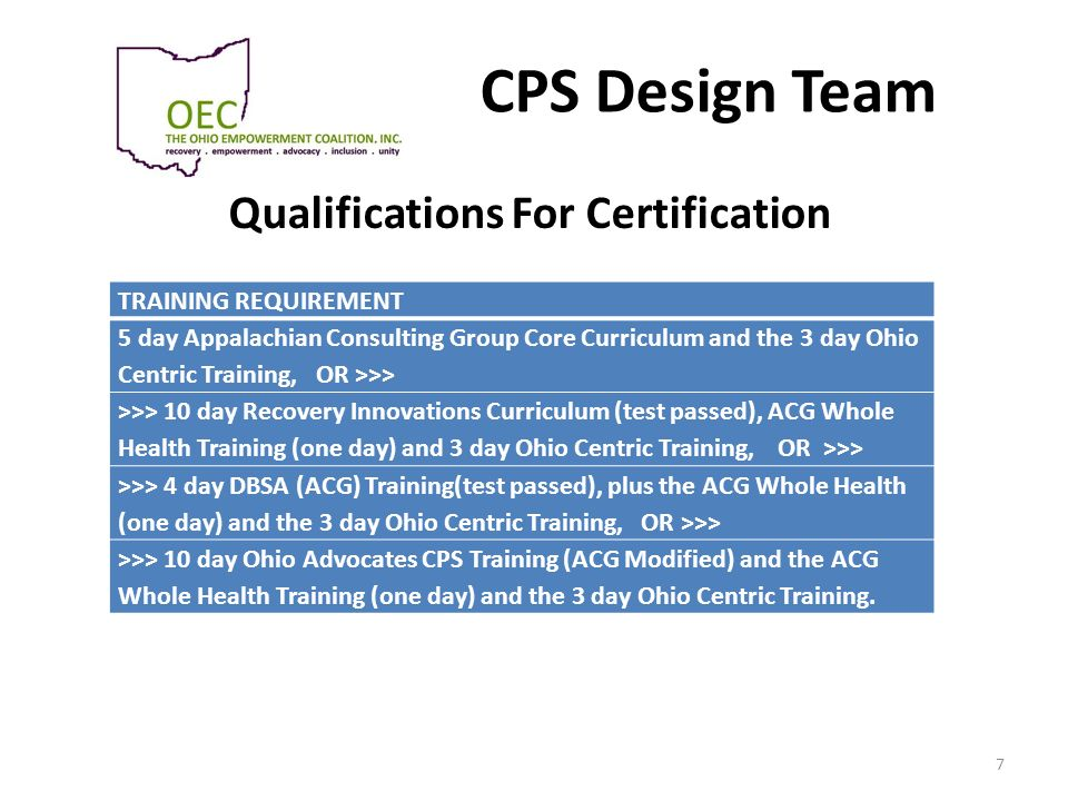 CPS Design Team Qualifications For Certification 7 TRAINING REQUIREMENT 5 day Appalachian Consulting Group Core Curriculum and the 3 day Ohio Centric