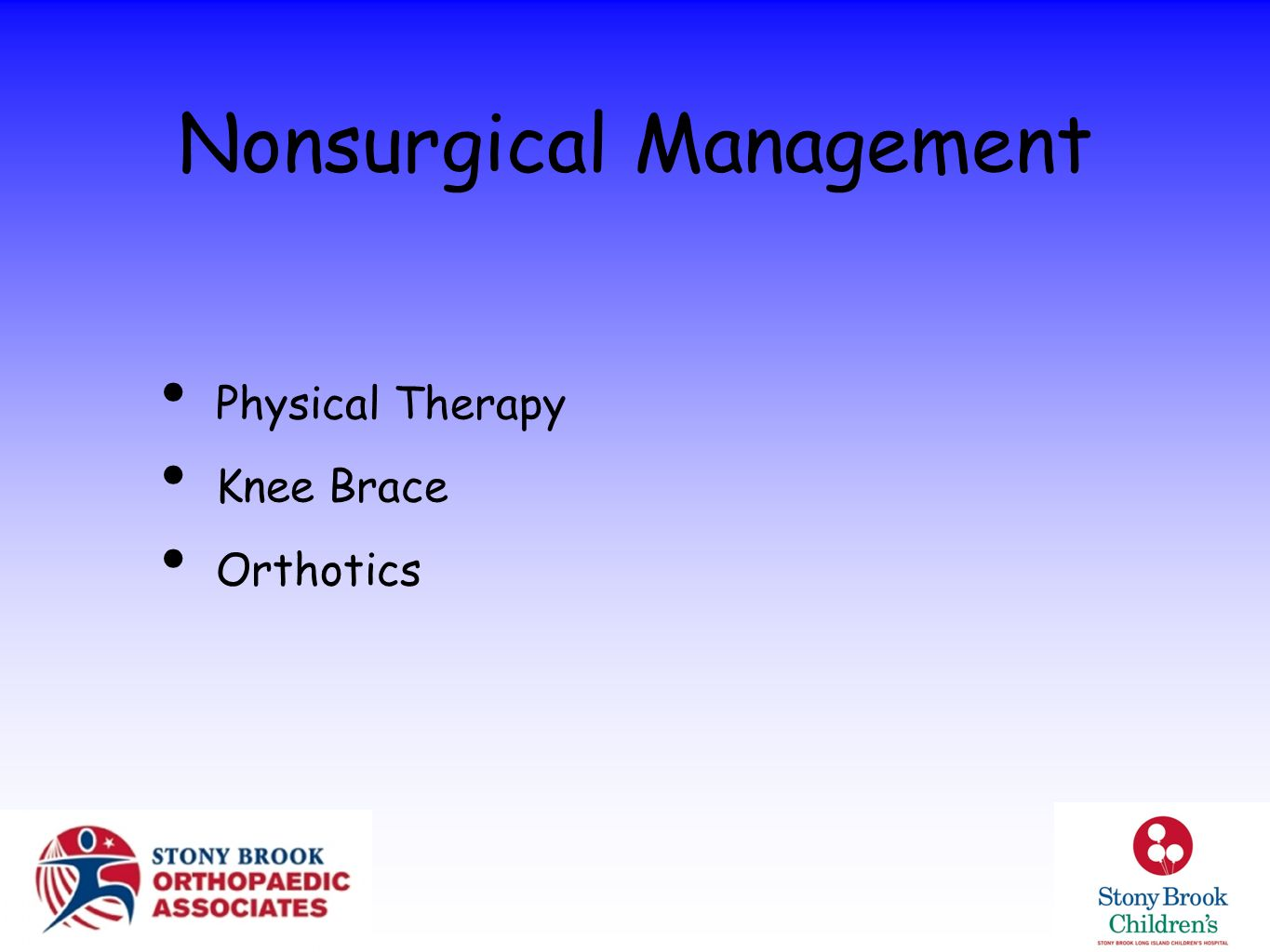 Nonsurgical Management Physical Therapy Knee Brace Orthotics